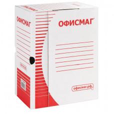 Короб архивный с клапаном А4 (260х325 мм), 150 мм, до 1400 листов, плотный, микрогофрокартон, БЕЛЫЙ, ОФИСМАГ, 123018