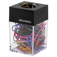 Скрепочница магнитная BRAUBERG, 100 цветных скрепок 28 мм, прозрачный корпус, 228401