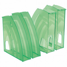 Лотки вертикальные для бумаг, КОМПЛЕКТ 4 шт., 240х70х270 мм, тонированный зеленый, BRAUBERG