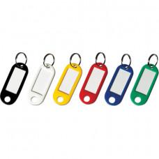 Брелоки для ключей КОМПЛЕКТ 12 шт., длина 50 мм, инфо-окно 30х15 мм, АССОРТИ, BRAUBERG, 231151