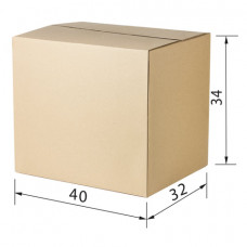 Гофроящик, длина 400 х ширина 320 х высота 340 мм, марка Т23, профиль В, FEFCO 0201 / ГОСТ, исполнение А