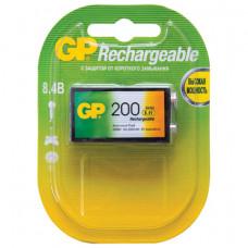 Батарейка аккумуляторная GP, Крона (20R8H, 6F22), Ni-Mh, 200 mAh, 1 шт., в блистере, 20R8H-2CRU1