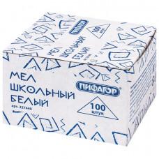 Мел белый ПИФАГОР, набор 100 шт., квадратный, 227440