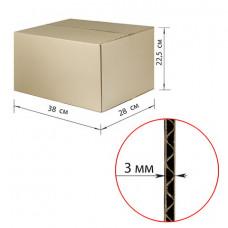 Гофроящик, длина 380 х ширина 280 х высота 225 мм, марка Т22, профиль В, FEFCO 0201 / ГОСТ, исполнение А, 440055