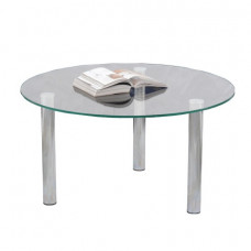 Стол журнальный, стекло/металл, Кристалл - ОМ, 800х800х417 мм, хром, 1101
