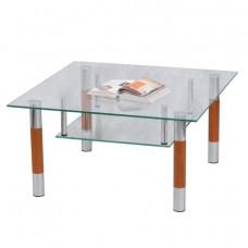 Стол журнальный, стекло/дерево/металл, Кристалл - ПК (П), 1000х600х417 мм, хром, 1116