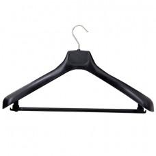 Вешалка-плечики, размер 50-52, пластик, анатомическая, перекладина, крючки для бретелей, черный, С041