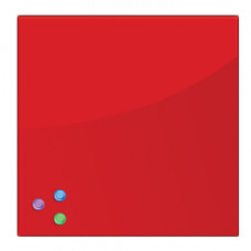 Доска магнитно-маркерная стеклянная (45х45 см), 3 магнита, КРАСНАЯ, BRAUBERG, 236737