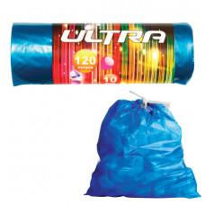 Мешки для мусора 120 л, с завязками, синие, в рулоне 10 шт., ПВД, 30 мкм, 70х110 см, КОНЦЕПЦИЯ БЫТА