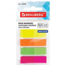 Закладки клейкие BRAUBERG НЕОНОВЫЕ, пластиковые, 3 цвета х 45х12 мм + 1 цвет х 45х26 мм, по 25 листов, 126698