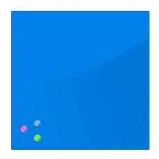 Доска магнитно-маркерная стеклянная (45х45 см), 3 магнита, СИНЯЯ, BRAUBERG, 236741