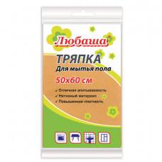 Тряпка для мытья пола, 50х60 см, вискоза (ИПП), плотность 120 г/м2, оранжевая, ЛЮБАША, 605498