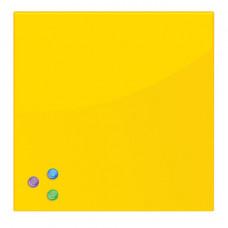Доска магнитно-маркерная стеклянная (45х45 см), 3 магнита, ЖЕЛТАЯ, BRAUBERG, 236739