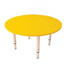 Стол детский круглый, 800х800х400-580 мм, регулируемый, рост 0-3 (85-145 см), пластик желтый, слоновая кость