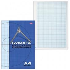 Бумага масштабно-координатная, А4, 210х295 мм, голубая, на скобе, 16 листов, HATBER, 16Бм4_02284