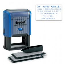 Штамп самонаборный 6-строчный, размер оттиска 50х30 мм, синий без рамки, TRODAT 4929/DB, КАССЫ В КОМПЛЕКТЕ, 53408