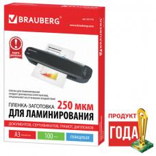 Пленки-заготовки для ламинирования А3, КОМПЛЕКТ 100 шт., 250 мкм, BRAUBERG, 531779