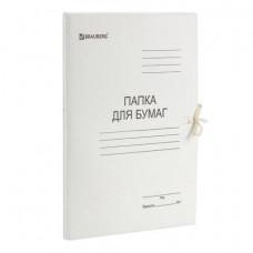 Папка для бумаг с завязками картонная мелованная BRAUBERG, 280 г/м2, до 200 листов, 110924