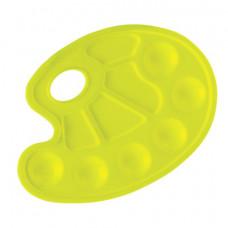 Палитра для рисования ЮНЛАНДИЯ желтая, овальная, 6 ячеек для красок и 4 для смешивания, европодвес, 227807