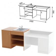 Стол ( ПАКЕТ 1) для кабинета химии, 2400х800х900 мм, ЛДСП бук/пластик