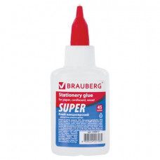 Клей канцелярский BRAUBERG-СУПЕР (для бумаги, картона, дерева), 45 г, 228417