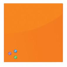 Доска магнитно-маркерная стеклянная (45х45 см), 3 магнита, ОРАНЖЕВАЯ, BRAUBERG, 236738