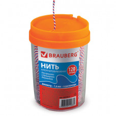 Нить хлопчатобумажная для прошивки документов, ТРИКОЛОР, диаметр 1,6 мм, длина 120 м, в диспенсере,BRAUBERG, 601813