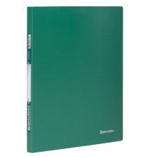 Папка с боковым металлическим прижимом BRAUBERG стандарт, зеленая, до 100 листов, 0,6 мм, 221627